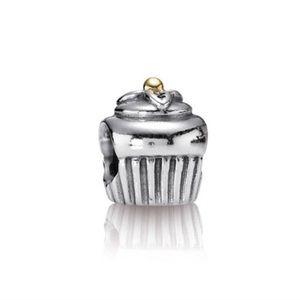 Pandora Retired 14k Gold Two Toned Cupcake Charm